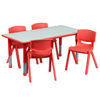 Flash Furniture YU-YCY-060-0034-RECT-TBL-RED-GG 23 5/8 inch x 47 1/4 inch Red Plastic Rectangular Adjustable Height Activity Table with Four Chairs