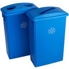 Lavex Janitorial 23 Gallon Blue Slim Recycle Station with Bottle / Can and Paper Lids