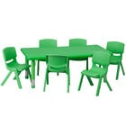 Flash Furniture YU-YCX-0013-2-RECT-TBL-GREEN-E-GG 24 inch x 48 inch Green Plastic Rectangular Adjustable Height Activity Table with Six Chairs