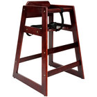 Lancaster Table &amp&#x3b; Seating Ready-to-Assemble Stacking Restaurant Wood High Chair with Mahogany Finish