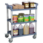 Choice Gray Utility / Bussing Cart with Three Shelves - 32 inch x 16 inch