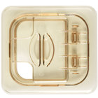 Cambro 60HPLN150 H-Pan 1/6 Size Amber High Heat FlipLid with Spoon Notch