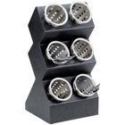 Cal-Mil 1016-6 Black 6-Cylinder Vertical Flatware / Condiment Display