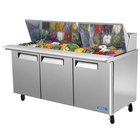 Turbo Air MST-72-30 72 inch 3 Door Mega Top Refrigerated Sandwich Prep Table
