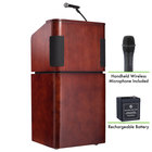 Oklahoma Sound M950/901-MY/WT/LWM-5 Mahogany on Walnut Finish Veneer Combination Floor Lectern with Sound, Wireless Handheld Microphone, and Rechargeable Battery