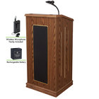 Oklahoma Sound M711-MO/LWM-6 Medium Oak Finish Prestige Lectern with Sound, Wireless Tie-Clip Microphone, and Rechargeable Battery