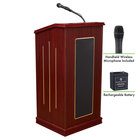 Oklahoma Sound M711-MY/LWM-5 Mahogany Finish Prestige Lectern with Sound, Wireless Handheld Microphone, and Rechargeable Battery