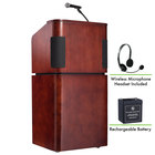 Oklahoma Sound M950/901-MY/WT/LWM-7 Mahogany on Walnut Finish Veneer Combination Floor Lectern with Sound, Wireless Headset Microphone, and Rechargeable Battery