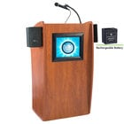 Oklahoma Sound M612-S Wild Cherry Finish Vision Lectern with LCD Screen, Sound, and Rechargeable Battery