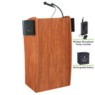 Oklahoma Sound M611-S/LWM-6 Wild Cherry Finish Vision Lectern with Sound, Wireless Tie-Clip Microphone, and Rechargeable Battery