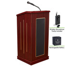 Oklahoma Sound M711-MY/LWM-6 Mahogany Finish Prestige Lectern with Sound, Wireless Tie-Clip Microphone, and Rechargeable Battery
