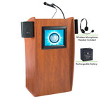 Oklahoma Sound M612-S/LWM-7 Wild Cherry Finish Vision Lectern with LCD Screen, Sound, Wireless Headset Microphone, and Rechargeable Battery