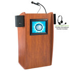 Oklahoma Sound 612-S/LWM-7 Wild Cherry Finish Vision Lectern with LCD Screen, Sound, and Wireless Headset Microphone