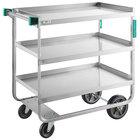 Regency 22 inch x 39 inch Three Shelf 18-Gauge Stainless Steel U-Channel Cart - Fully Welded