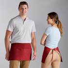 Choice Red Standard Waist Apron with 3 Pockets - 12 inchL x 26 inchW