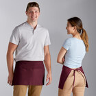 Choice Burgundy Standard Waist Apron with 3 Pockets - 12 inchL x 26 inchW