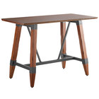 Lancaster Table & Seating 30 inch x 60 inch Solid Wood Live Edge Bar Height Table with Legs and Antique Walnut Finish