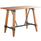 Lancaster Table & Seating 30 inch x 60 inch Solid Wood Live Edge Bar Height Table with Legs and Antique Natural Wood Finish
