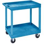 Luxor EC11HD-BU Blue Two Tub Shelf Heavy-Duty Utility Cart with 5 inch Casters - 18 inch x 35 1/4 inch x 34 1/4 inch