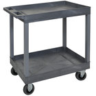 Luxor EC11SP5-G Gray Two Tub Shelf Utility Cart with 5 inch Casters - 18 inch x 35 1/4 inch x 35 1/2 inch
