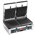 Cecilware TSG-2G Double Panini Sandwich Grill with Grooved Surfaces - 19 3/4 inch x 10 inch Cooking Surface - 240V, 1700W