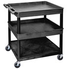 Luxor TC112-B Black 3 Shelf Utility Cart