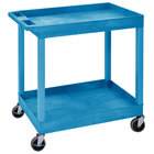 Luxor EC11-BU Blue Two Tub Shelf Utility Cart - 18 inch x 35 1/4 inch x 34 1/4 inch