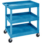 Luxor EC111-BU Blue Three Tub Shelf Utility Cart - 18 inch x 35 1/4 inch x 36 1/4 inch