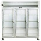 Traulsen G32013 3 Section Glass Door Reach In Refrigerator - Left Hinged Doors