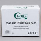 Choice 5 1/2 inch x 8 inch Plastic Food Bag on a Roll - 2000/Case