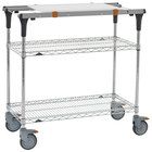 Metro MS1824-BRBR-PK1 PrepMate MultiStation with Cutting Board and Brite Zinc Wire Shelving - 26 inch x 19 3/8 inch x 39 1/8 inch
