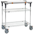 Metro MS1848-BRBR-PK1 PrepMate MultiStation with Cutting Board and Brite Zinc Wire Shelving - 50 inch x 19 3/8 inch x 39 1/8 inch