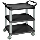 Luxor SC12-B Black 3 Shelf Plastic Utility Cart / Bussing Cart - 33 1/2 inch x 16 3/4 inch x 36 3/4 inch