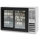 Beverage-Air BB48HC-1-GS-F-PT-S 48 inch Stainless Steel Food Rated Pass-Through Sliding Glass Door Back Bar Refrigerator