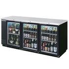 Beverage-Air BB72HC-1-FG-B-27 72 inch Black Food Rated Glass Door Back Bar Refrigerator