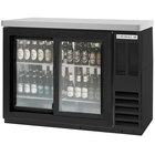 Beverage-Air BB48HC-1-GS-F-PT-B-27 48 inch Black Food Rated Pass-Through Sliding Glass Door Back Bar Refrigerator