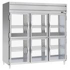 Beverage-Air PRD3HC-1BHG 78 inch Stainless Steel Glass Half Door Pass-Through Refrigerator