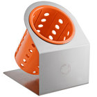Steril-Sil Cantilever 1-Cylinder Stainless Steel Flatware Organizer with Orange Perforated Plastic Cylinder
