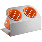 Steril-Sil Cantilever 2-Cylinder Stainless Steel Flatware Organizer with Orange Perforated Plastic Cylinders
