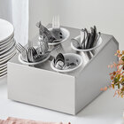 Choice Four Hole Stainless Steel Flatware Organizer with Perforated Plastic Cylinders