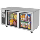 Turbo Air JUR-60-G J Series 60 inch Undercounter Refrigerator with Side Mounted Compressor and Glass Doors - 15 Cu. Ft.