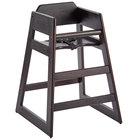 Assembled Stacking Restaurant Wood High Chair with Dark Finish