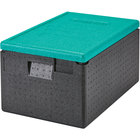 Cambro Cam GoBox® Black Top Loading EPP Insulated Food Pan Carrier with Green Lid - 8 inch Deep Full-Size Pan Max Capacity