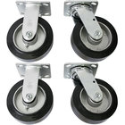 Wesco Industrial Products 250050 6 inch x 2 inch 2000 lb. Capacity Moldon Rubber Swivel and Rigid Caster Set for ATP and ASD Series Platform Trucks   - 4/Set