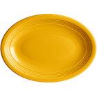 Acopa Capri 9 3/4 inch x 7 inch Mango Orange Oval Stoneware Coupe Platter - 12/Case