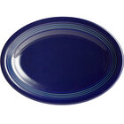 Acopa Capri 9 3/4 inch x 7 inch Deep Sea Cobalt Oval China Coupe Platter - 12/Case