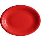 Acopa Capri 11 1/2 inch x 8 3/4 inch Passion Fruit Red Oval China Coupe Platter - 12/Case