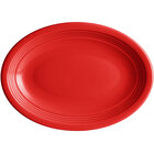 Acopa Capri 9 3/4 inch x 7 inch Passion Fruit Red Oval China Coupe Platter - 12/Case