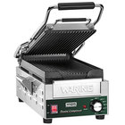 Waring WPG200 Compresso Slimline Panini Grill with Grooved Top and Bottom Plates - 7 3/4 inch x 14 1/2 inch Cooking Surface - 120V, 1800W