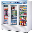 Turbo Air TGM-72RS 78 inch Three Section Glass Door White Merchandising Refrigerator - 72 Cu. Ft.